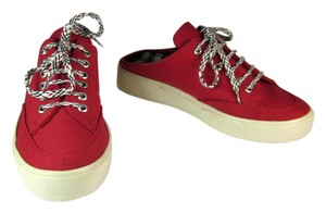 Burberry Leather Nova Check Red Sneakers Flats