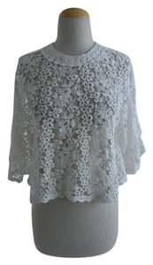 Étoile Isabel Marant Poncho Lace Sheer Top White