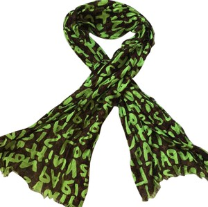Louis Vuitton Louis Vuitton LV Monogram Stephen Sprouse Graffiti Pareo Green Stole Scarf