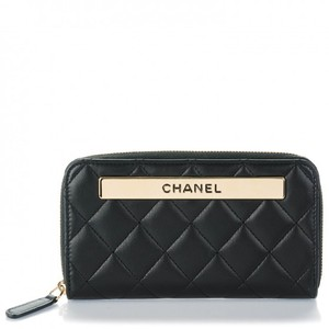 Chanel CHANEL Lambskin Quilted Small Trendy CC Zip Around Wallet Black