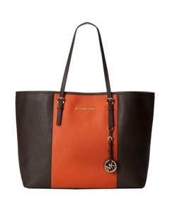 Michael Kors Mk Travel Saffiano Leather Mk Mk Center Stripe Tote in COFFEE BROWN ORANGE STRIPE/Gold Hardware