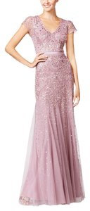 Adrianna Papell Pink Bridesmaid V-neck Evening Dress
