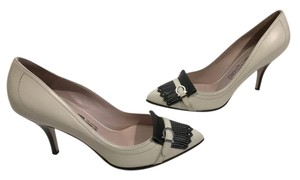 Salvatore Ferragamo Thin Strap Made Italy White all leather black leather heels and tassels topstitching Italian Pumps