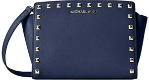 Michael Kors Messenger Studded Contrast Exclusive Strappy Navy Messenger Bag