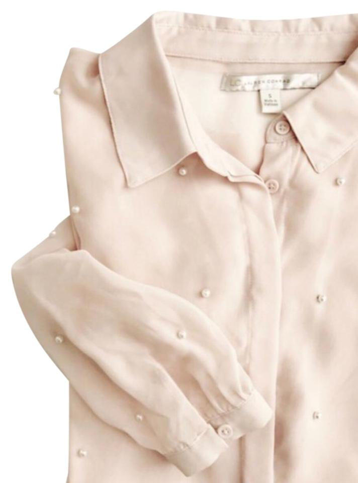 93a11a4933b70e LC Lauren Conrad Pale Pink Pearl Embellished Sheer Blouse Size 4 (S ...