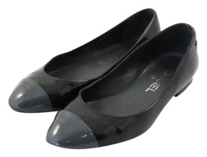 Chanel Caviar Cc Flap Quilted Ballerines Balle Maxi Le Boy Size 5.5 Cap Toe Patent Leather Black Flats