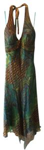 Cache Pattern Jewel Tone Asymmetrical Hem Halter Dress