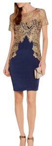 Marchesa Notte Embroidered Tulle Stretck Silk Navy Dress