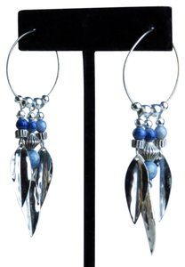 Other VINTAGE * 1980 * HANDMADE * SILVER HOOPS W/SILVER FEATHERS & BEADS