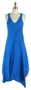 Blue Maxi Dress by Eileen Fisher Linen Asymmetrical Vibrant