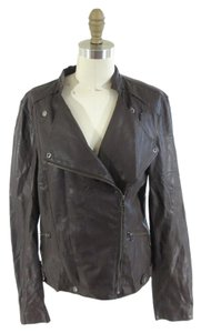 Velvet by Graham & Spencer Vegan Faux Leather Motorcycle Brown Leather Jacket