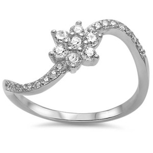 9.2.5 Gorgeous white sapphire flower wave ring size 7