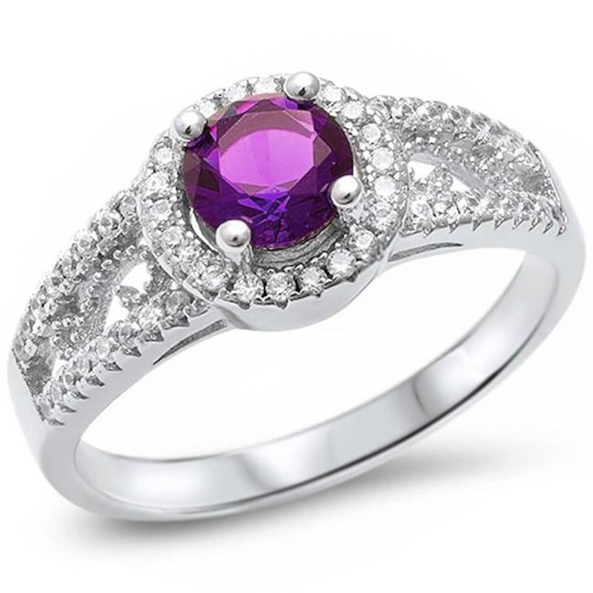 Item - Purple Vibrant Amethyst Halo Cocktail Size 8 Ring