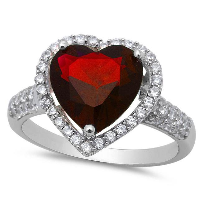 Item - Red Large Garnet and White Topaz Heart Cocktail Size 8 Ring