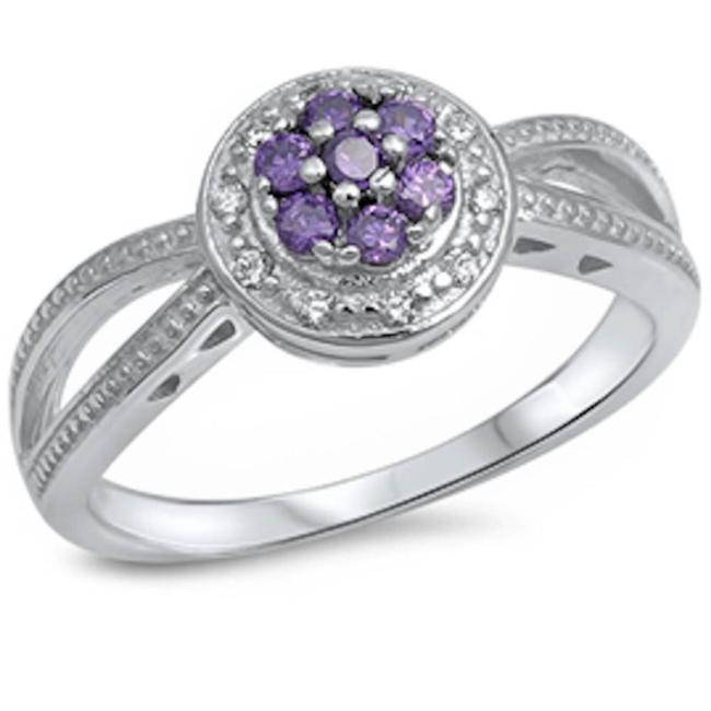 Item - Purple Unique Amethyst Flower Halo Cocktail Size 6 Ring