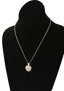 Other White and Black Diamond Reversible Heart Necklace