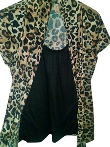 No Boundaries Stretchy Animal Print Polyester Top Black and Brown