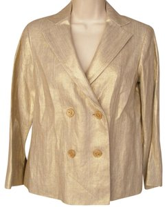 Diane von Furstenberg Double Breasted Metallic Gold Dvf Jacket Gold, Metallic Blazer