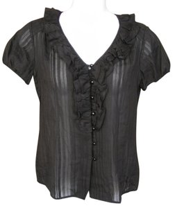 Trina Turk Ruffles Cap Sleeves Semi Sheer Top Black
