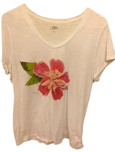 Ann Taylor LOFT Xl T Shirt White with Pink Flower
