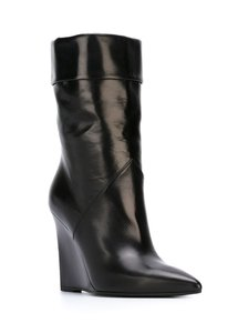 Saint Laurent Wedge Pointed Toe Black Boots