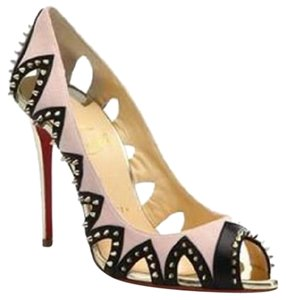 Christian Louboutin Louboutin Circus City Studded Spike Cutout Light pink, black, gold. Pumps