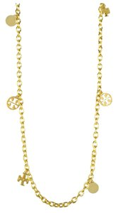 Tory Burch Tory Burch Gold Logo Charm Rosary Necklace
