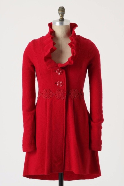 Anthropologie Raspberry Red Alice In Autumn Sweater By Charlie & Robin Coat Size 6 (S) Anthropologie Raspberry Red Alice In Autumn Sweater By Charlie & Robin Coat Size 6 (S) Image 1