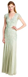 Adrianna Papell Bridesmaid V-neck Evening Mint Embellished Dress