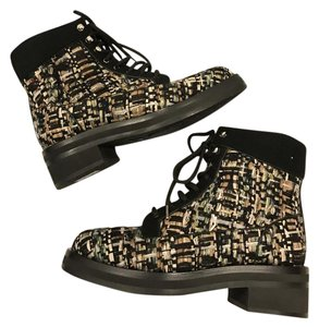 Chanel Cc Tweed Lace Up Multi Boots