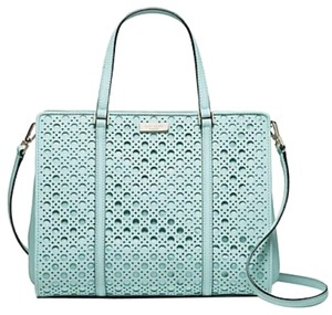 Kate Spade Strap Convertible Saffiano Leather Structured Mint Tote in Blue