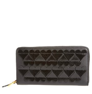 Marc Jacobs MARC JACOBS NEW Heart Applique Black Leather Continental Wallet