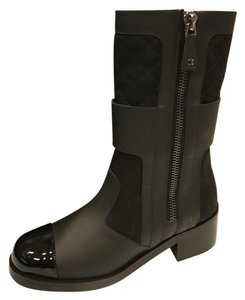 Chanel Zipper Midcalf Quilted Black Boots