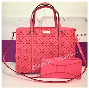 Kate Spade Perforated Saffiano Leather Set Gift Set Matching Set Tote in Pink