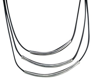Silpada Retired, sterling silver, 3 strand Black Leather 15