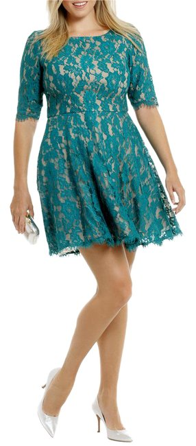 Item - Teal Nude Half Sleeve Lace Mid-length Cocktail Dress Size 18 (XL, Plus 0x)