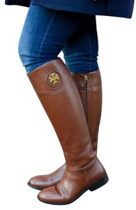 Tory Burch Equestrian-inspired Finished Leather Side Zip Closure Imported Almond Boots
