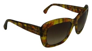 Chanel CHANEL Yellow/Multicolor Tweed CC logo Butterfly Sunglasses
