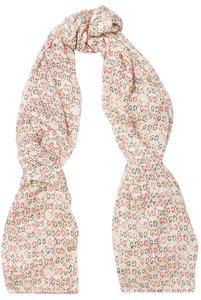 Gucci New Gucci GG Ghost Printed Silk Scarf