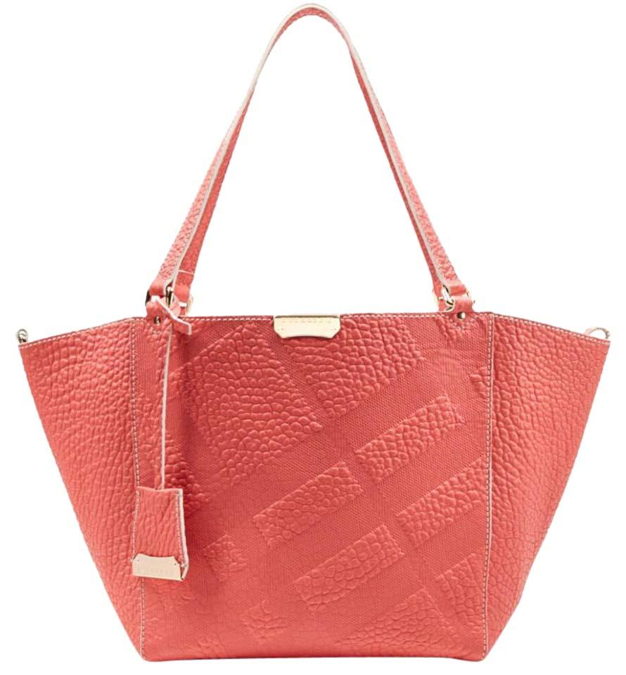 74718ad10ba4 Very Burberry Canterbury Grain Embossed Check Rose Pink Leather Tote DS92