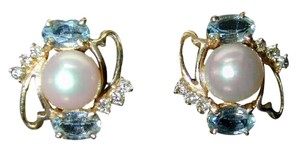 custom made by jeweler Fine Jewelry-Earrings-blue topaz,pearls, diamonds,14K gold
