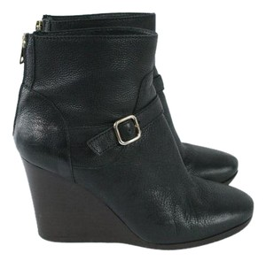 J.Crew Black Leather Wedge Ankle Boots