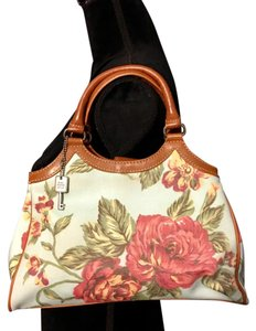 Fossil Satchel in Floral with tan trim & tan straps