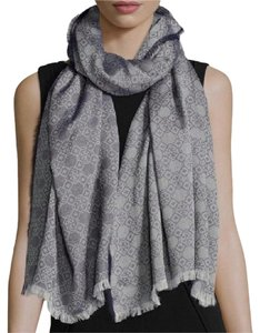 Tory Burch NEW TORY BURCH MOSIAC LOGO JACQUARD SCARF/ GREY