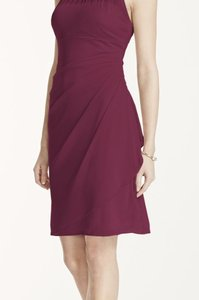 David's Bridal Wine Sleeveless Short Mesh Dress With Side Cascade Dress
