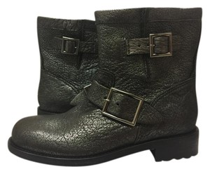 Jimmy Choo Biker Leather Youth Ankle Silver/Gunmetal Boots