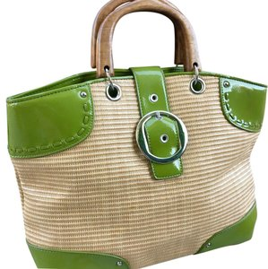 Ann Taylor Satchel in Green & beige