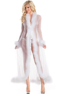 White Bridal Shower Gift Peignoir White Lingerie Set With Marabou