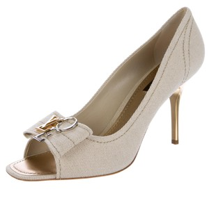 Louis Vuitton Peep Toe Silver Hardware Hardware Love Lv Beige, Ivory, Gold Pumps