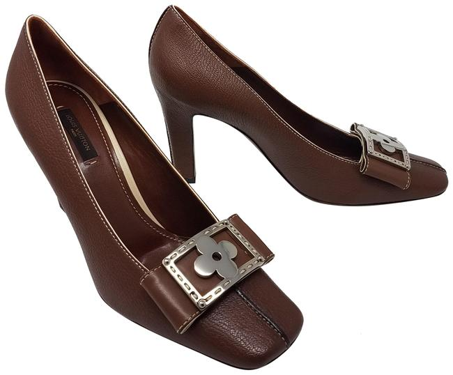 Item - Brown Silver Gold Tan Suhali Leather Square-toe Pumps Size EU 39 (Approx. US 9) Regular (M, B)